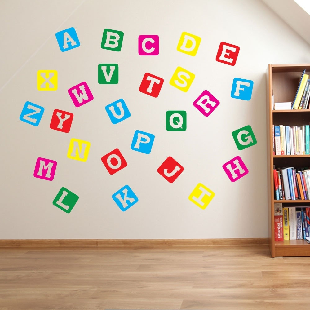 Block alphabet wall stickers kids nursery play room home art for Alphabet wall mural