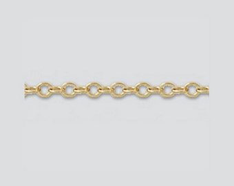 14k Gold Filled Chain 1.5mm 14/20 GF Wholesale Chain, 10 Feet  ,Oval Flat Cable Necklace Chain