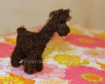 Miniature Llama - Needle Felted Miniature Plush Art Doll or Ornament - Glass Eyes Wool Body - Tiny Animal in Cream or Brown