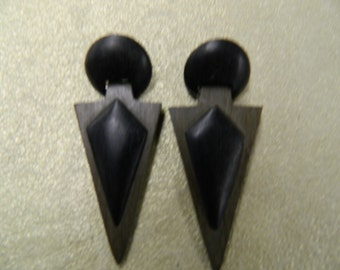 Vintage handmade all natural black/grey wood earrings