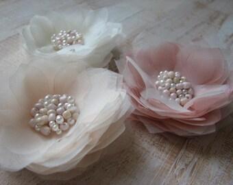 Set of 3 hair flower Ivory cream hair flower Ivory champagne hair flower Champagne cream wedding Blush ivory wedding Blush hair flower