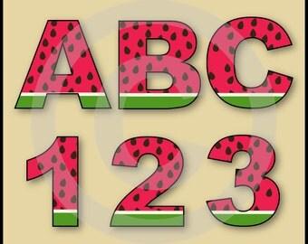 Watermelon Alphabet Letters & Numbers Clip Art Graphics