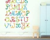 Alphabet Nursery Wall Decal - Playroom Wall Decal - Flower Wall Decal - Play Room Wall Decal - Custom Decal Wall Graphics 01-0008