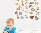 Alphabet Nursery Wall Decal - Playroom Wall Decal - Educational Wall Decal - Play Room Wall Decal - Animal Wall Decal - 01-0038