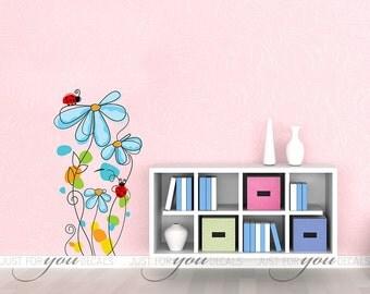 Nursery Wall Decal - Teen Girl Room Wall Decal - Flower Decal - Wall Stickers - Custom Decal Wall Graphics - 06-0001