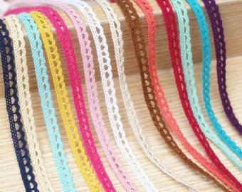 20 yards Cotton Trim For Craft And Fashion Projects mix color 12mm Ribbon assorted