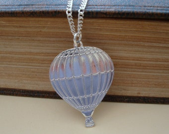 Hot air balloon necklace silver plated steampunk vintage style
