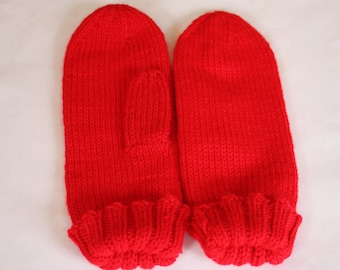 Knit Kids Mittens - Red Mittens for Kids - Classic Mittens on a String for Children - Knit Red Kids Winter Mittens with String
