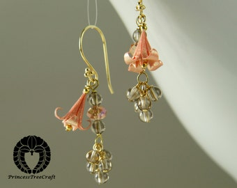 Origami lily earrings with smoky quartz, Origami Jewelry - gift idea