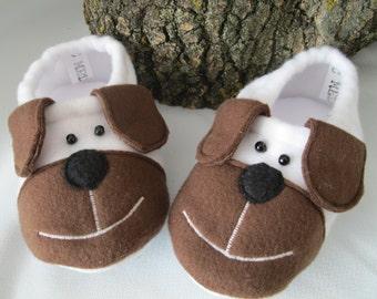 toddler slippers, toddler booties, fleece slippers, animal slippers, puppy slippers, puppy booties