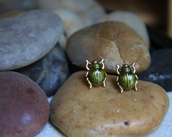 Green and Gold Bug Earrings!