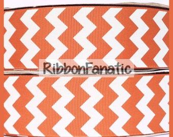 "5 yds 1.5"" Texas Longhorn Burnt Orange Chevron Striped Grosgrain Ribbon"