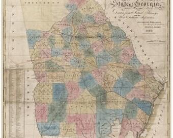 Georgia 1830  Old Map - Wellborn - State- Reprint