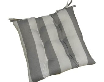 Gray / Grey and White Stripe Tufted Cushion Pad with Ties for Patio / Kitchen / Dining Chair ~ Select Size