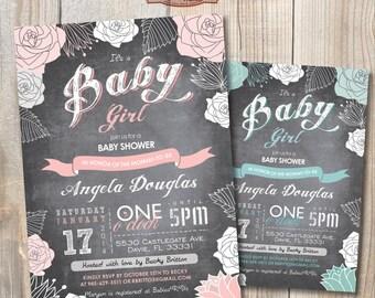 Chalkboard Baby Girl Spring Shower Invitation. DIY card. Digital Printable card