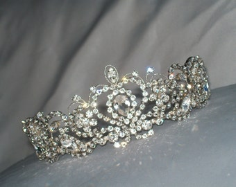 Handmade vintage inspired bridal wedding tiara all Swarovski diamantes