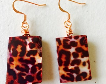 Copper wire wrapped animal print earrings