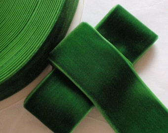 3 yards 2 inches Velvet Ribbon in Green RY20-60