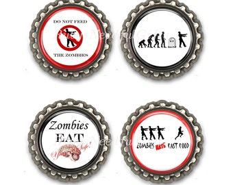 Zombie Bottle Cap Magnets, Bottlecap magnets, Set of 4.