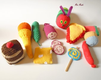 Knitting Pattern For Very Hungry Caterpillar Toy : The Very Hungry Caterpillar with Hand Knitted Fruit by MooMush