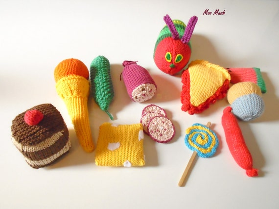 Plush Food Toys : Hand knitted play food set soft toys learning resource made