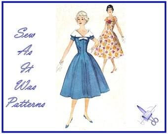 "1950s Flared Dress Princess Seams Detachable Portrait Collar Bow Round Neckline Vintage Sewing Pattern Simplicity 2496 Size 14 Bust 34"" 87cm"