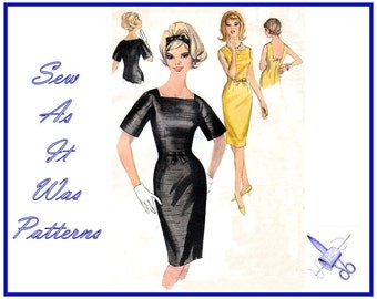 """1960s Unused Simplicity 4745 Sheath Wiggle Dress Square Neckline Bell Short Sleeves Bow Trim Vintage Sewing Pattern Size 12 Bust 32"""" 82cm"""