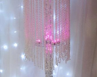20 Table top chandelier Wedding  centerpiece, 1 tier  of iridescent Pearls, Wedding Centerpiece. set of 20 799.00
