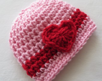 PINK VALENTINE'S Hat, Red HEART, Baby Girls, Valentine's Day Photo Props, Preemie to Toddler, Baby Shower Gift, crochet hat, baby's 1st hat