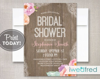 Bridal Shower Invitation, Rustic Bridal Shower Invitation, Lace Bridal Shower Invitation, DIY Printable Bridal Shower Invitation #BR023