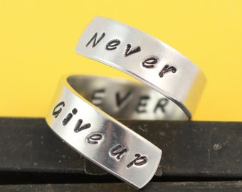 SALE - Never Ever Give Up Wrap Ring - Adjustable Twist Aluminum Ring - Hand Stamped Ring