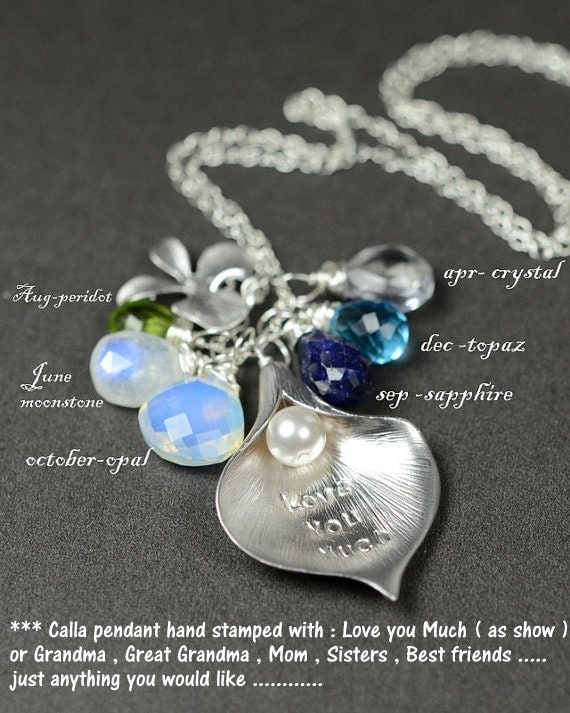 personalized grandmother necklace calla by thefabulousjewelry