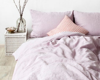 USA Pink Lavender Stone Washed Linen Bed Set