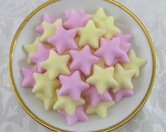 54 Pink & Yellow Star shaped sugar cubes for tea party, party favor, star and rock star baby shower, twinkle little star