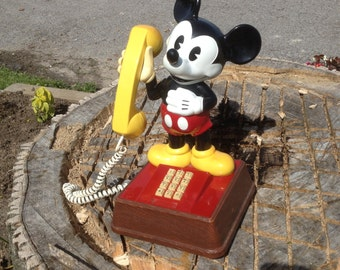 1976 Authentic Mickey Mouse Push Button Telephone