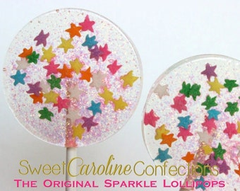 Celebration Lollipops, Star Lollipops, Confetti Lollipops, Sparkle Lollipops, Hard Candy Lollipops, Sweet Caroline Confections--Set of Six