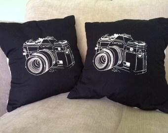 "Illustrated Canon camera Cushion (14"" x 14"")"