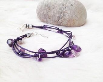Amethyst bracelet. Amethyst chips cord bracelet. Amethyst jewellery