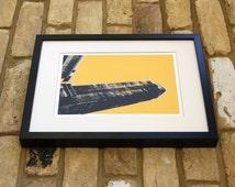 Screen print London, Tate Modern art London, hand printed in yellow and grey