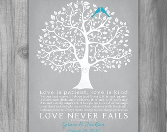 Love is Patient CANVAS WEDDING Gift Personalized 1 Corinthians 13:4-8 Engagement Gift Tree Custom Colors Unique Art Anniversary Gray Vintage