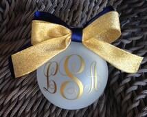 Monogrammed Ornament Navy/Gold