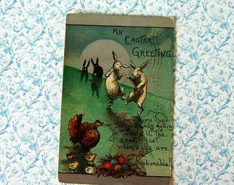 Vintage Easter Fantasy Bunnies Dancing in the Moonlight Postcard, Embossed
