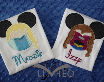 Frozen Inspired Mickey Ears Appliquéd Shirt or Onesie- Elsa, Anna, Olaf, Sven, or Kristoff