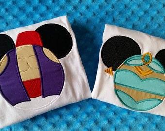 Jasmine or Aladdin- Disney Mickey Mouse Ears Appliquéd Shirts or Onesies-- Prince or Princess