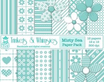 Misty Sea Digital Scrapbook Papers - Instant Download