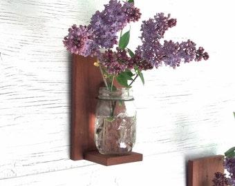 Mason Jar Wall Decor - Handemade Reclaimed Redwood Shelf