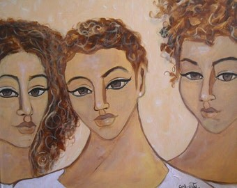 Original 20x16 Modern African American portrait painting Canvas pOp ArT
