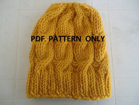 PDF pattern cable knit slouchy beanie PDF pattern by AYTULGIFT