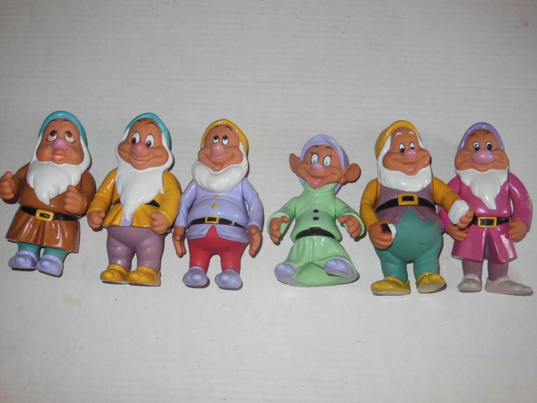 6 X Disney Vintage Snow White Dwarves Dwarfs Pvc Plastic
