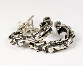 100% Sterling Silver Earrings - Womens Earrings - Baroque Earrings - Floral Motifs Jewelry
